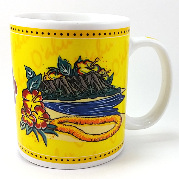 Oahu Coffee Mug Hilo Hattie Cup 10oz 2002 Island Heritage Yellow Lei Hawaii k134