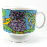 Owl Coffee Tea Mug Cup 10oz Vintage Pedestal Flowers Retro Mod Melo 7852 Japan k141