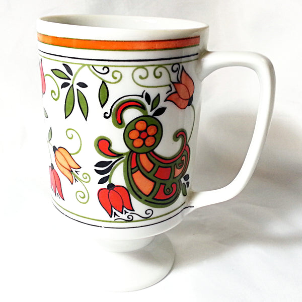 Floral Retro Mod Pedestal Mug Coffee Tea Cup 10oz Japan Red Orange Green