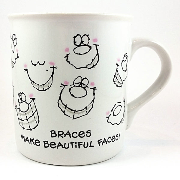 Braces Coffee Mug Beautiful Faces Silver Smile Cup Vintage 1985 Hallmark k402