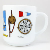 Nautical Coffee Mug R. Carman Vintage 10oz Cup France Milkglass Milk Glass k603