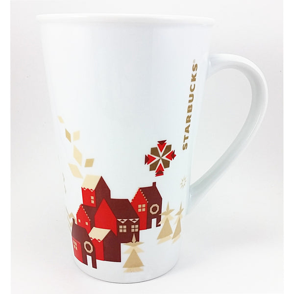 Christmas Village Mug Starbucks 22oz Red Houses Gold Trees Large k628
