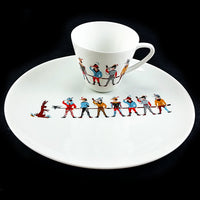 Hunting Men Tea Cup Plate Set China Porzellanmalerei Parbus Bavaria Germany m211