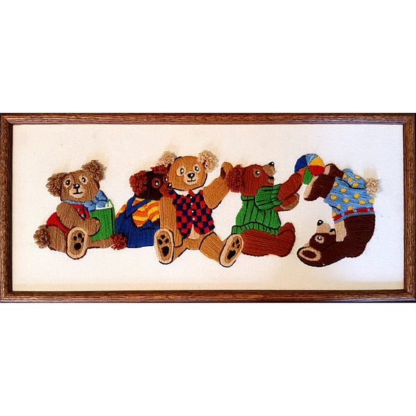 Tumbling Teddy Bears Crewel Embroidery Framed 10 x 22 Finished Handworked m287