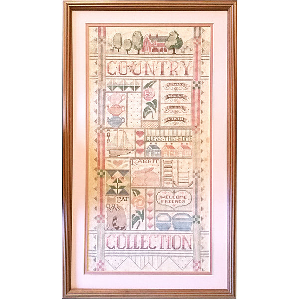 Country Collection Counted Cross Stitch Framed 24 x 14 Finished Handworked m289