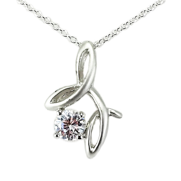 Solitaire Flourish Pendant Necklace Cubic Zirconia Silver Plated Fashion n012s