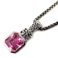 Pink Ice Necklace Antiqued Silver Plated Cubic Zirconia Designer Fashion n223sp