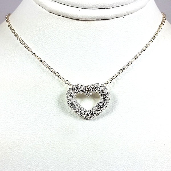 Pave Heart Pendant Cubic Zirconia Sterling Silver Love Valentines Day Gift n259s