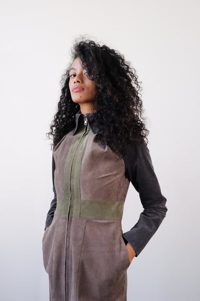 2008 Ossie Clark Patchwork Suede Dress