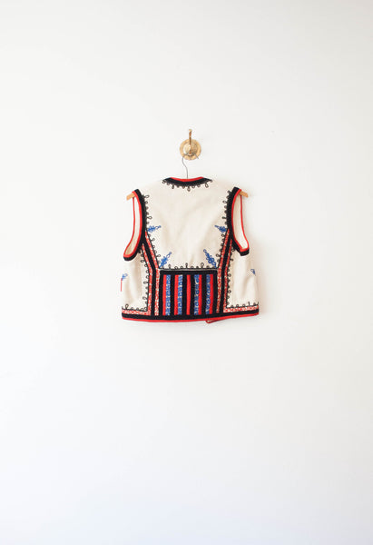 Folklore Cream Wool Embroidered Vest