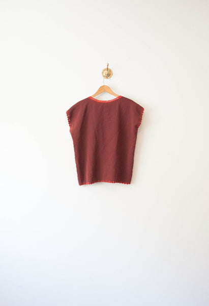 Oxblood Embroidered Blouse