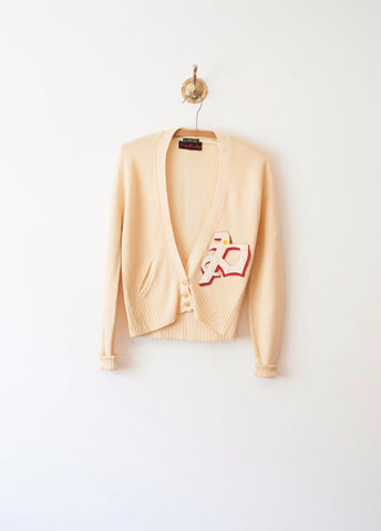 Custard Wool Letterman's Cardigan