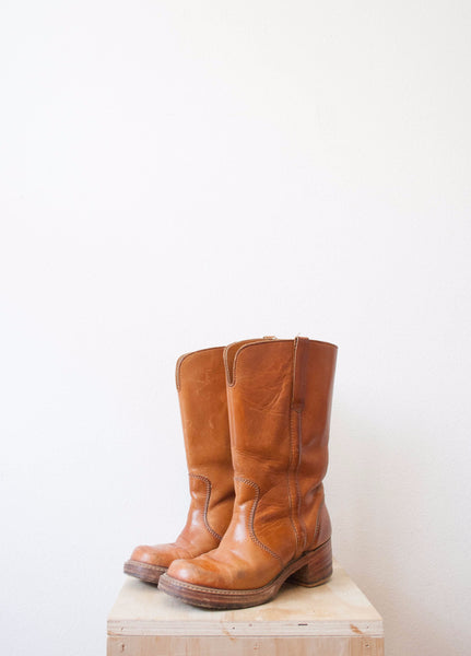 Cognac Leather Western Boots | Size 7 1/2