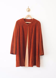 Rust Velvet Cape Jacket