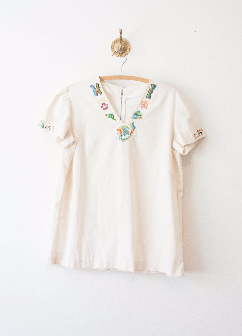 Light Beige Ethnic Embroidered Tunic