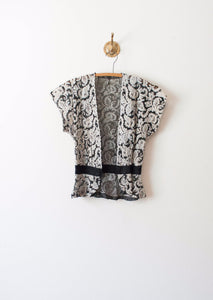 Slate Grey Lace Bolero Blouse