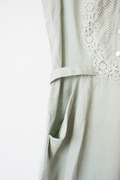 Sage Green Lace Applique Dress