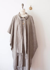 Oatmeal Wool Shawl Coat