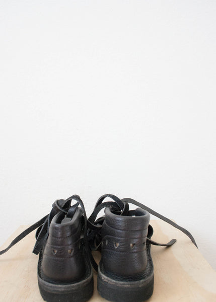 Black Leather Lace-up Flats | Size 6