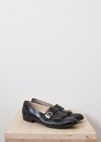Ferragamo Black Leather Oxfords