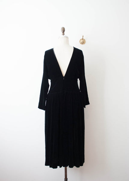 Black Velvet Low Back Dress