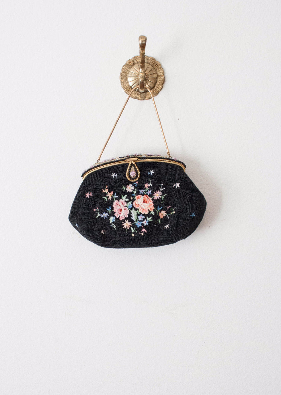 Black Embroidered Beaded Handbag