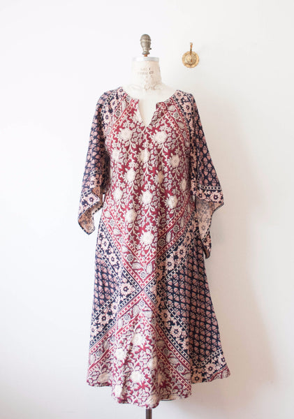 Block Print Indian Cotton Caftan Dress