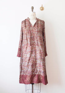 Burgundy Indian Block Print Metallic Dress