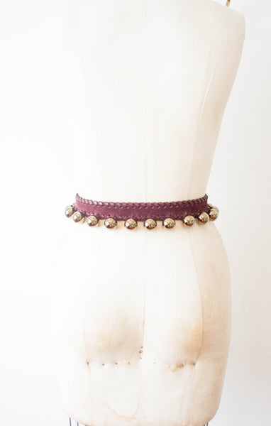 Yuve Saint Laurent Burgundy Tassel Stud Belt