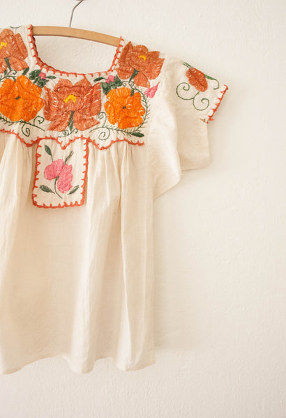 Antique Hand Embroidered Linen Blouse
