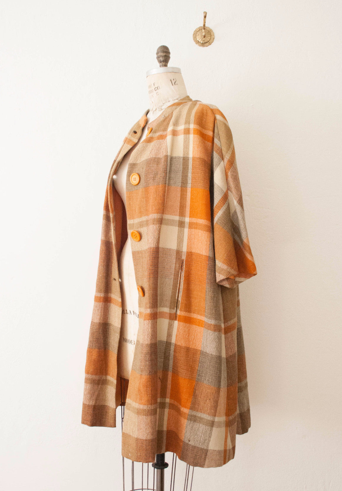 Autumn Plaid Sandra Sage Wool Coat