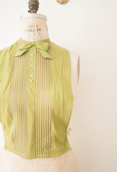 Antique Moss Green Sheer Dickie Blouse