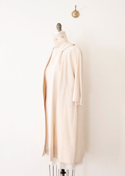 Ivory Crepe Silk Coat