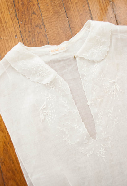 1930s Sheer White Embroidered Dickie Blouse