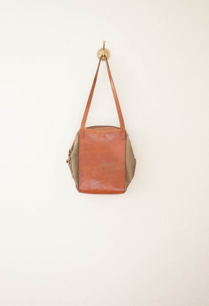 Army Green Canvas Leather Shoulder Bag
