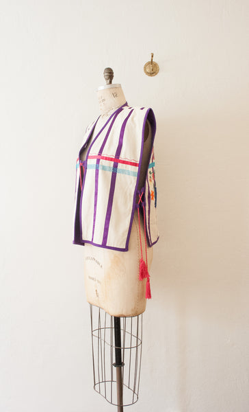 Violet Bird Embroidered Vest