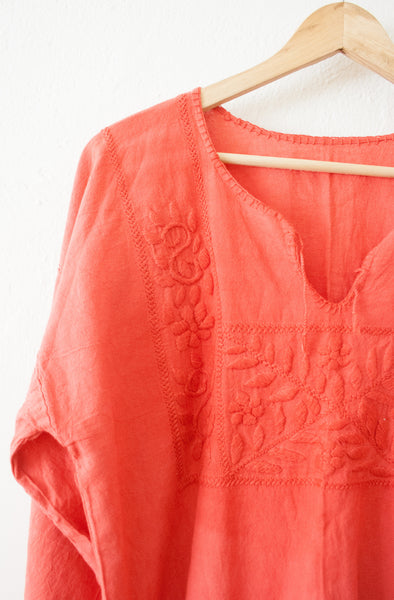 Red Overdye Cotton Embroidered Tunic