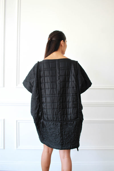 1980s Black Quilted Sculptural Dress