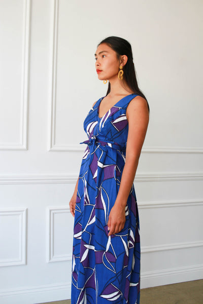 1960s Hawaiian Barkcloth Maxi Dress