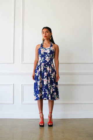 1980s Hawaiian Print Cotton Halter Dress