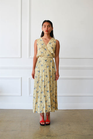 1990s Gap Rayon Floral Wrap Dress