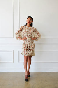 1980s Cream Crochet Knit Tunic