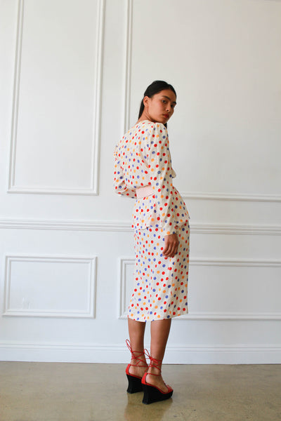 1980s Guy Laroche Silk Polka Dot Peplum Dress