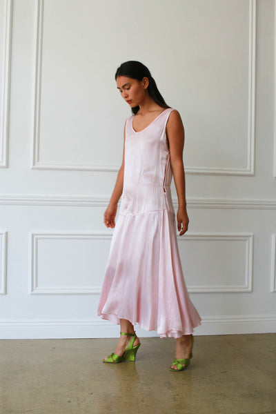 1920s Glacier Pink Satin Dropwaist Dress