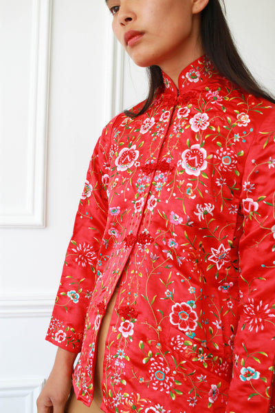 1950s Red Chinese Embroidered Jacket