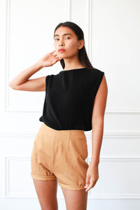 1980s Fendi Pleated Black Blouse