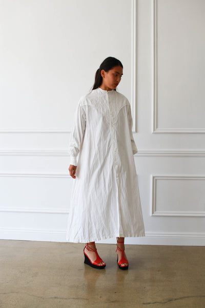 Antique Victorian Embroidered Cotton Night Dress