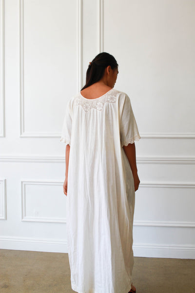 Edwardian Crochet Knit Collar Night Dress
