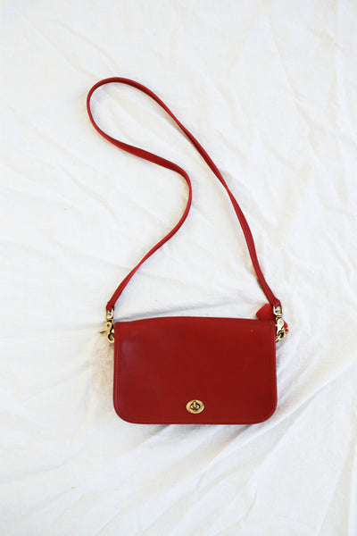1980s Cherry Red Leather Coach Shoulder Bag
