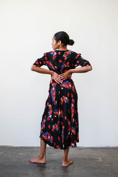1990s Floral Rayon Bias Dress